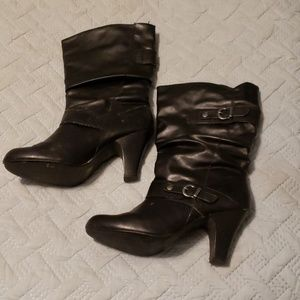 """Style & Co Shoes - 3"""" heel double buckle black heeled boots"""